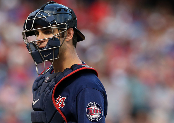 joe mauer catching mask